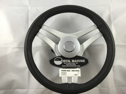 STEERING WHEEL BLACK - THREE SPOKES - MODEL 832 - 43.00115 *In Stock & Ready To Ship!
