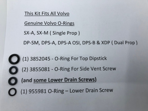 $14.95* GENUINE VOLVO OUTDRIVE OIL CHANGE O-RING KIT * IN STOCK & READY TO SHIP! **