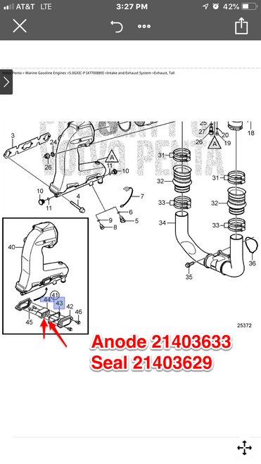 $5.95* EXHAUST MANIFOLD ANODE GASKET  21403629 *In Stock & Ready To Ship!