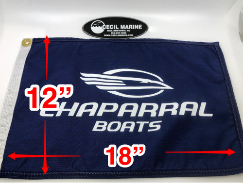 "EMBROIDERED ( ON BOTH SIDES ) CHAPARRAL LOGO FLAG 12"""" X 18"" *In Stock & Ready To Ship!"