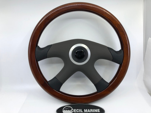 "CHAPARRAL 14"" MAHOGANY STEERING WHEEL WITH PADDED COVER &  SPLINE HUB  *In Stock & Ready To Ship!"