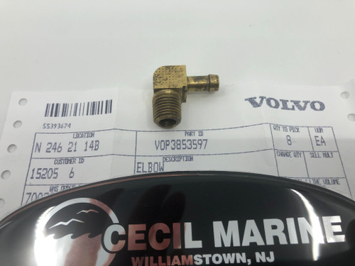 $14.95 GENUINE VOLVO BRASS ELBOW 3853597 * In Stock & Ready To Ship!