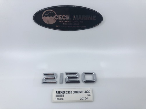 """PARKER CHROME 2120 LOGO 4 1/2"""" x 1"""" WITH STICKY BACK ** In Stock & Ready To Ship!"""