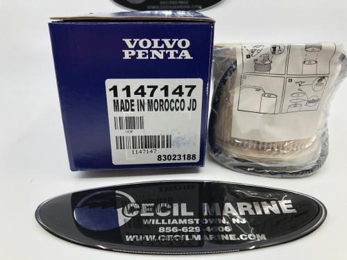 24.95* GENUINE VOLVO PENTA  DIESEL FUEL FILTER INSERT & GASKET 1147147  ** In Stock & Ready To Ship! **