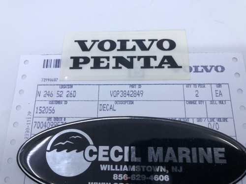 $7.95 GENUINE VOLVO TRANSOM SHIELD DECAL 3842849 *In Stock & Ready To Ship!