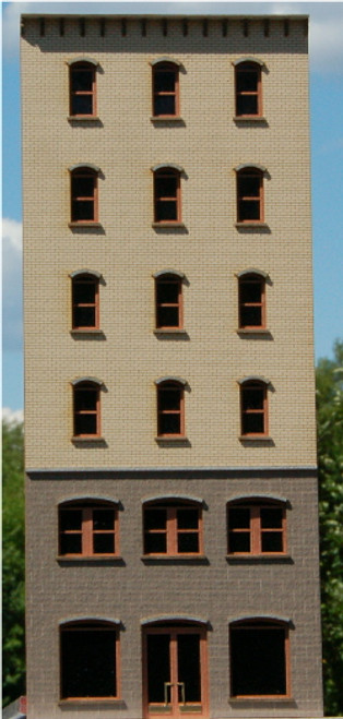 190201 - HO-SCALE 6-STORY OFFICE-A BACKDROP ARCHED (NPR)