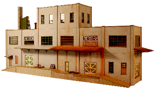 HO-SCALE: INDUSTRY 3-STORY BACKDROP STRUCTURE CONCRETE