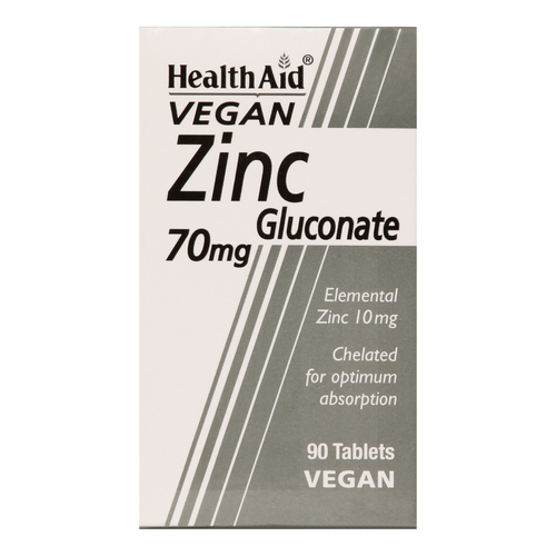 HealthAid Zinc Gluconate Tablets Zinc gluconate is gentler on the stomach than zinc citrate. Zinc works to help support growth & the immune system.