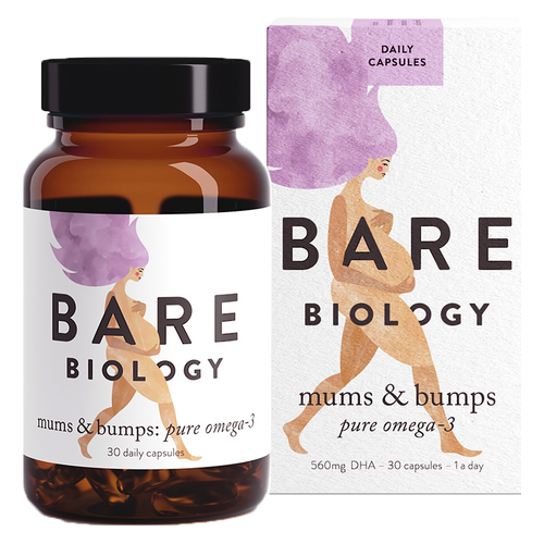 Bare Biology's Mums & Bumps Pure Omega 3 (formerly Bump & Glory DHA Omega 3 Fish Oil) supplement provides Omega 3 fish oil rich in DHA which is vital during pregnancy.