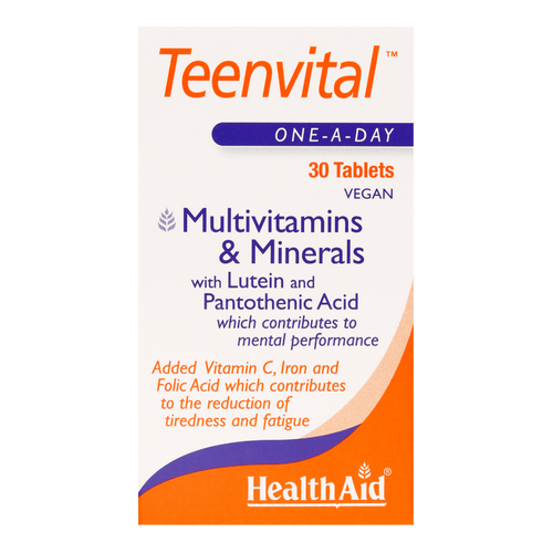 HealthAid Teenvital Tablets enhances energy level and gives an extra boost .help to maintain healthy cell membranes, stimulate immunity and may help in formation of bone, protein and growth hormones.