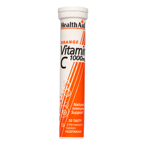HealthAid Vitamin C 1000mg Effervescent Tablets help maintain normal growth and development. May improve the formation of collagen and help in tissue repair. Help enhance brain functioning