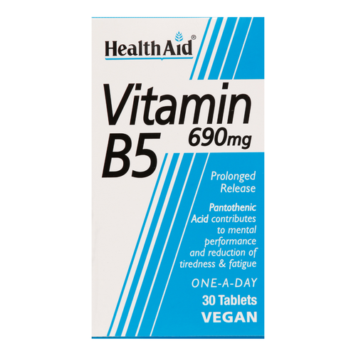 HealthAid Vitamin B5 (Calcium Pantothenate) Tablets contains Vitamin B5, which is used to assist in cell building, maintaining normal growth and developing the central nervous system.