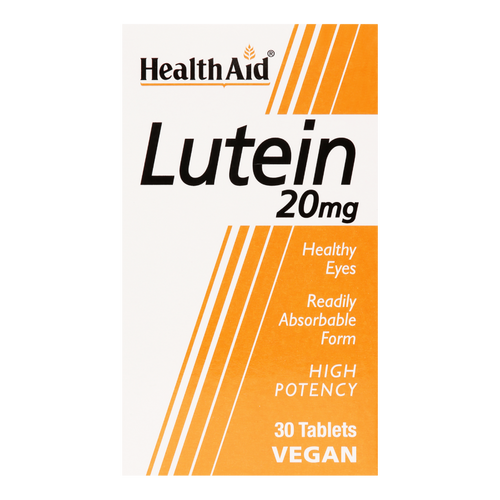 HealthAid Lutein tablets contains 20mg of lutein, a carotenoid used to prevent macular degeneration & to alleviate floaters & dry eyes.