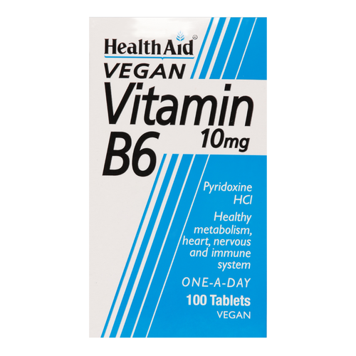 HealthAid Vitamin B6 (Pyridoxine HCl) Tablets is used in the metabolism of carbohydrates, proteins and fat.