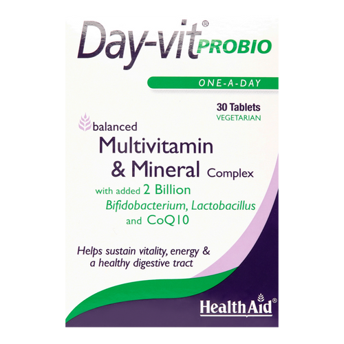 HealthAid Day-Vit Probio Tablets offer a well balanced multivitamin and mineral formulation with added probiotics to help maintain a healthy active lifestyle and help keep the lining of the digestive tract in balance.