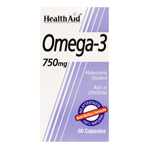 Healthaid Omega 3 750mg fish oil capsules provide high strength omega 3 fatty acids for maintain healthy joints & circulation.
