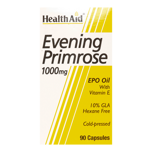 HealthAid Evening Primrose Oil 1000mg Capsules are used for Pre-menstrual Syndrome (PMS), Eczema and other skin disorders such as Psoriasis, Cholesterol and Blood Pressure.