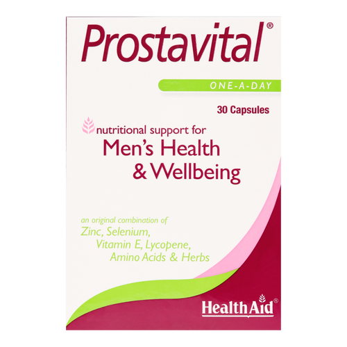 HealthAid Prostavital  capsules contain saw palmetto, pygeum & nettle for maintaining the health of the prostate gland especially for enlargment.
