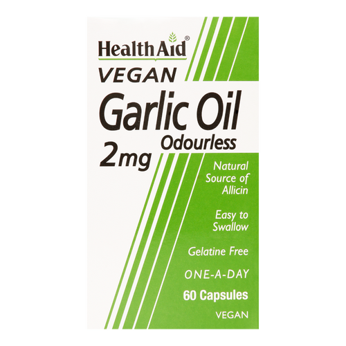 HealthAid Garlic Oil capsules contain odourless garlic oil its extremely powerful antioxidant activity and plays a vital role for general health and wellbeing