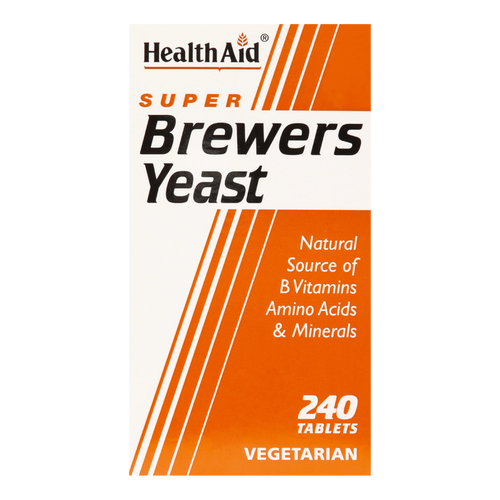 HealthAid Brewers Yeast Tablets contain Brewers Yeast, which is a natural source of B complex vitamins and contains a range of amino acids, minerals and trace elements.