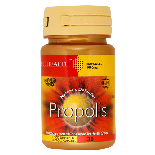 Bee Health Propolis Capsules each contain 1000mg of propolis which boosts immunity and is high in antioxidants with multiple benefits.