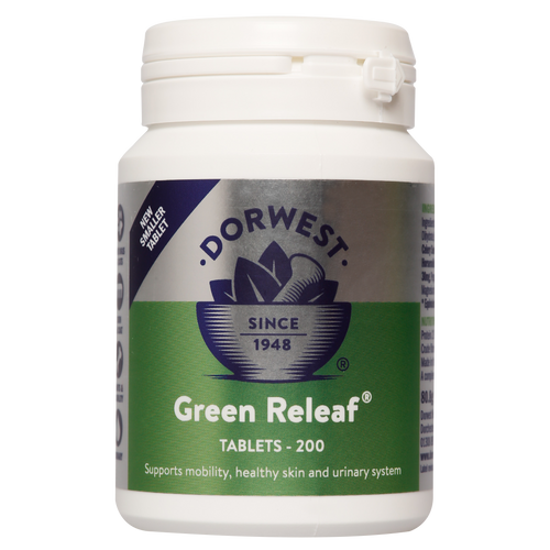 Dorwest Green Releaf tablets is a  licensed supplement for the relief of arthritis in dogs and cats.