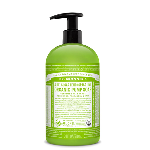Dr Bronner's Organic Shikakai LemongrassSoap is a 4 in 1 soap to wash hands, face, body and hair & kind to the planet