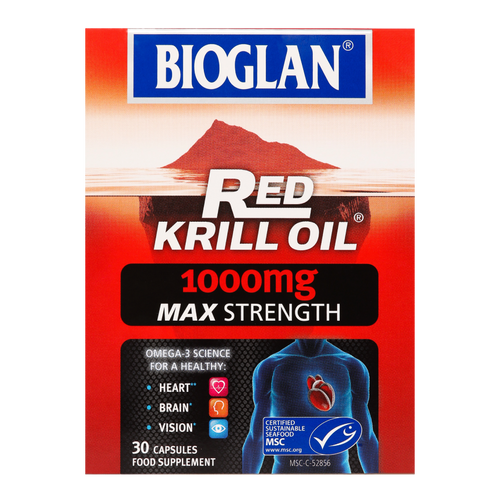 Bioglan Red Krill Oil 1000mg Max Strength supports your heart, eyes, joints  and brain health.