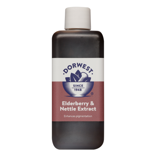 Dorwest Elderberry & Nettle Extract is used for coat growth and pigmentation for dogs and cats.