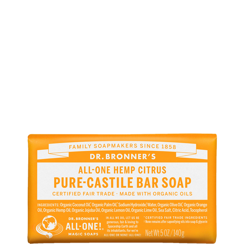 Dr Bronner's Citrus Organic Soap Bar cleanses your skin and revives your spirits