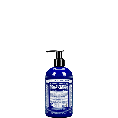 Dr Bronner's Organic Shikakai Peppermint Soap is a 4 in 1 soap to wash hands, face, body and hair & kind to the planet