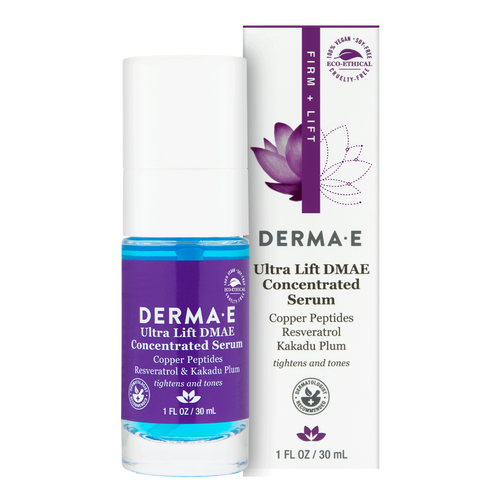Derma E Ultra Lift DMAE Concentrated Serum helps reduce facial sag, improves skin tone & helps firm skin.