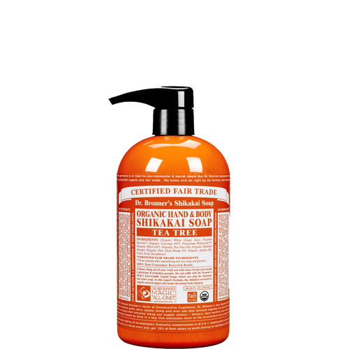 Dr Bronner's Organic Shikakai Tea Tree Soap is a 4 in 1 soap to wash hands, face, body and hair & kind to the planet