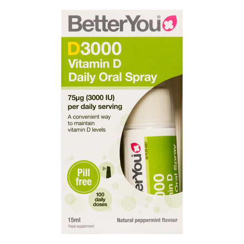 BetterYou D3000 Vitamin D Oral Spray provides a high daily dose of oral vitamin D formulated to deliver through the soft tissues of the mouth for optimum absorption.