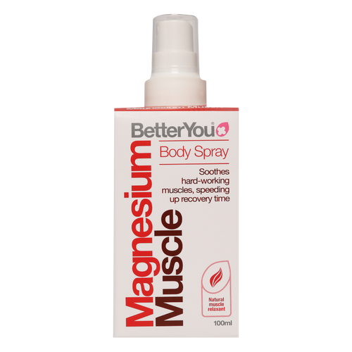 BetterYou Magnesium Muscle Body Spray with magnesium chloride & energising lemon oil soothes hard working muscles to aid recovery.