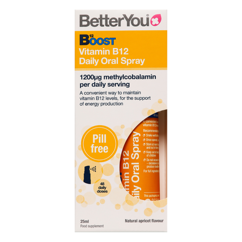 Better You B12 Boost Oral Spray delivers vitamin B12 to boost energy, concentration and support healthy metabolism.