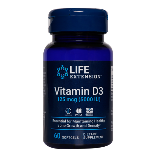 Life Extension Vitamin D3 5000iu provides a high strength of vitamin D in line with current opinion.