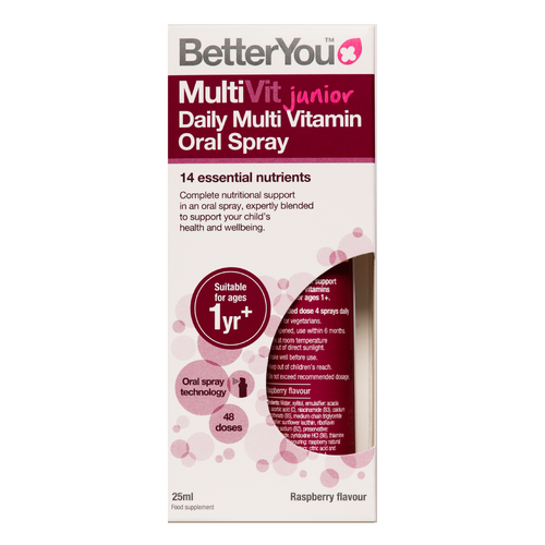 BetterYou MultiVit Junior Daily Oral Spray is a daily multivitaminblend in a spray, suitable for toddlers and children over the age of 1.