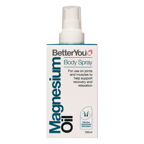 Better You Magnesium Oil Spray provides transdermal magnesium chloride spray for topical use which feels like an oil and has numerous benefits including alleviating sore joints, knee pain and encouraging restful sleep.