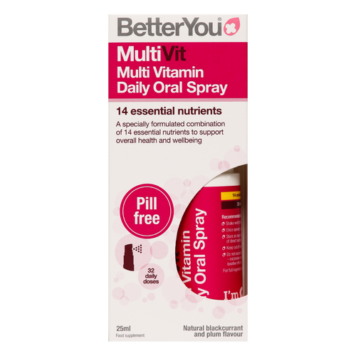 Better You MultiVit Oral Spray is the UK's first daily oral spray delivering key vitamins and minerals through the sublingual route for a healthier you.