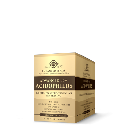 Solgar Advanced 40+ Acidophilus is a non-dairy probiotic supplement for healthy digestion