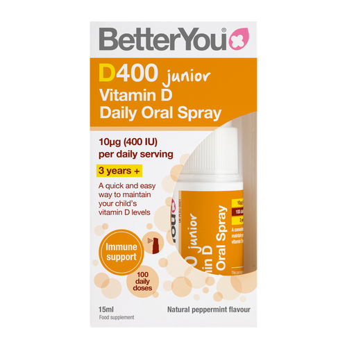 BetterYou D400 Junior Vitamin D Oral Spray delivers 400iu of vitamin D3, the bioactive form of vitamin D, for children over the age of 3.