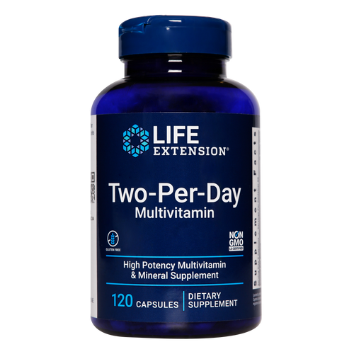 Life Extension Two-Per-Day multivitamin capsules provide you with a broad spectrum of essential vitamins, minerals and other nutrients to support your health and well-being.