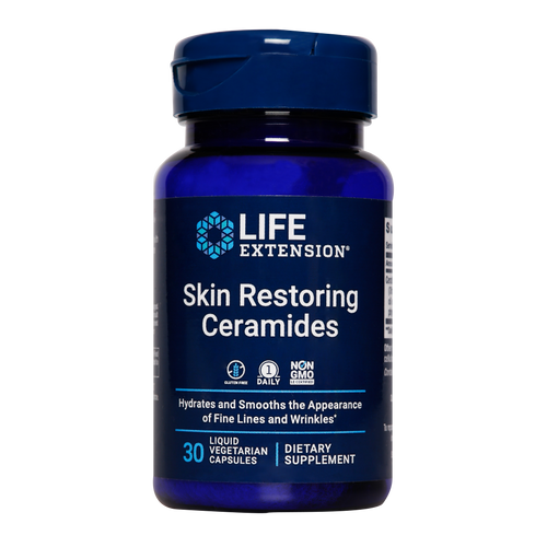 Life Extension Skin Restoring Ceramides hydrate and smooth the appearance of fine lines and wrinkles.