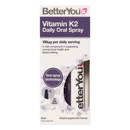 BetterYou Vitamin K2 Oral Spray supports normal blood clotting and bone health than any other supplement form.