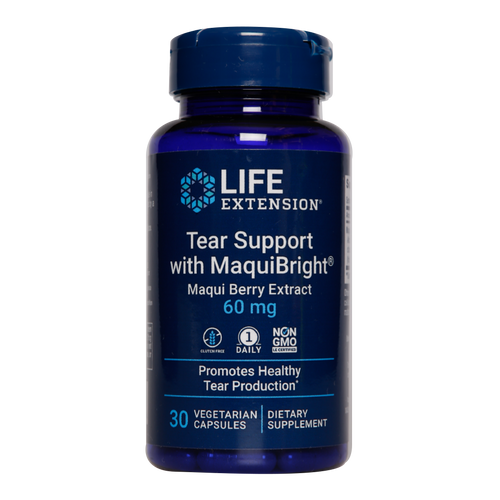 Life Extension Tear Support with MaquiBright is a natural remedy to enhance tear production and alleviate the symptoms of dry eyes.