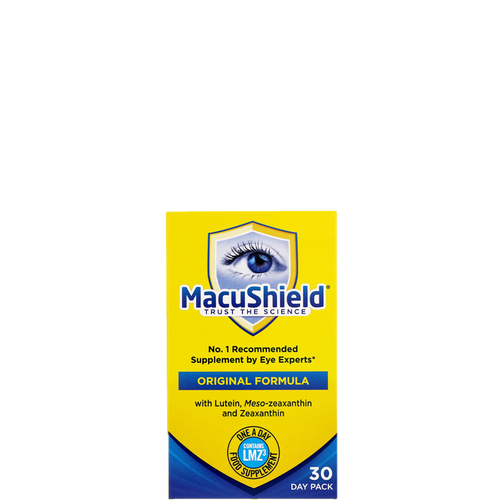 Macushield Original capsules contain lutein, zeaxanthin & meso-zeaxanthin to support normal eye vision.