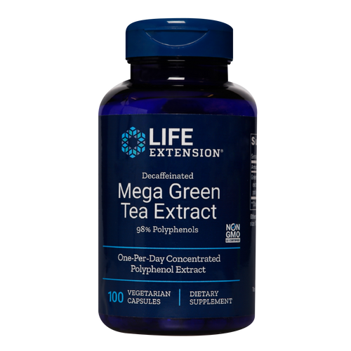 Life Extension's Decaffeinated Mega Green Tea Extract provides more of the health-promoting polyphenol EGCG than several cups of green tea.