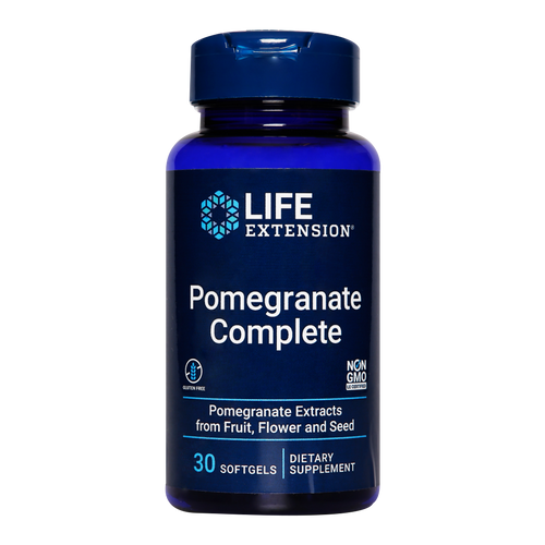 Life Extension Pomegranate Complete benefits include everything from supporting healthy prostate and breast tissue to promoting a healthy heart, joints, liver and kidneys.