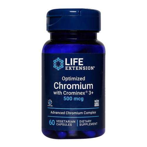 Life Extension Optimized Chromium with Crominex 3+ is a stabilised chromium supplement which helps enhance insulin efficiency whilst helping to maintain low blood sugar levels.